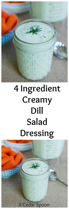 Fresh dill is combined with Greek yogurt, mayonnaise and lemon juice to create this 4 Ingredient Creamy Dill Salad Dressing. It comes together in under 5 minutes and makes a nice salad dressing or dip for your vegetables. // A Cedar Spoon