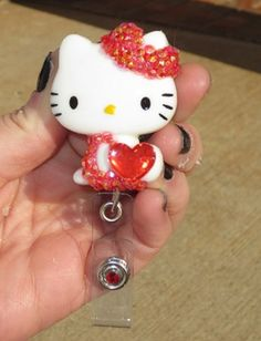 Red Heart Hello Kitty Id Badge Retractable Reel Holder | evezbeadz - Accessories on ArtFire, NEW AND ON SALE