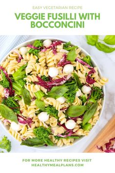 This Pasta Salad recipe is a delicious lunch option any time of the year! It starts with dried fussilli and is loaded with broccolini, radicchio, basil, and bocconcini! The salad is finished with a flavourful homemade dressing! Vegetarian Recipes Easy, Lunch Recipes, Cooking Recipes, Healthy Recipes, Homemade Dressing, Fusilli, Pasta Salad Recipes, Recipe Details, Basil