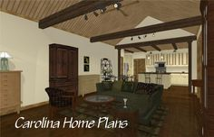 Small economical 1332 sf craftsman cottage house plan with open floor plan layout and cathedral great room, small floor plan ideal for down-sizing empty-nesters, starter or vacation home. 3d House Plans, Cottage House Plans, Small House Plans, Cottage Homes, Affordable House Plans, Affordable Housing, Small Floor Plans, Craftsman Cottage, Floor Plan Layout