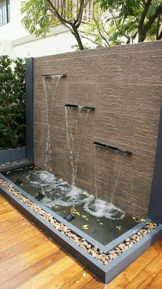 Outdoor water feature ideas indoor wall fountain backyard fountains with tsp home decor build interior a . Outdoor Water Features, Water Features In The Garden, Wall Water Features, Outdoor Wall Fountains, Outdoor Walls, Patio Fountain, Garden Water Fountains, Indoor Fountain, Water Falls Garden