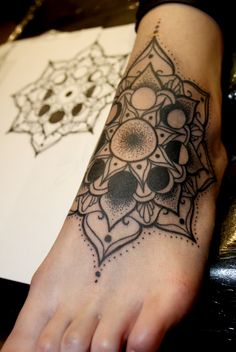 Dotwork Mandala Tattoo by Shanel GT at Origines Tatouage et Perçage