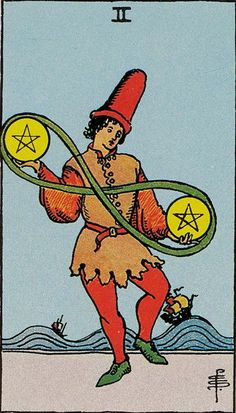 Two of Pentacles. The Original Rider Waite Tarot Card Deck, by Arthur Edward Waite & Pamela Colman Smith.