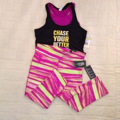 """Xersion workout capris Neon yellow and orchid color 19"""" inseam 15-17"""" waist with 2 1/2"""" waistband 8"""" uprise 5"""" leg opening Xersion Pants Capris"""