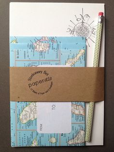 world atlas letter writing set upcycled map envelopes writing paper and pencil