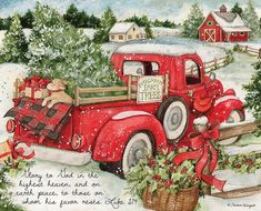 Christmas In Evergreen Truck.Susan Winget Evergreen Christmas Red Truck Sign Artist