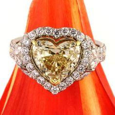 Women's Fashion #Jewelry: #Diamonds and #Gemstones: Mark Broumand 4.60ct Fancy Light Yellow #Heart Shaped Diamond Engagement Anniversary Ring: Mark Broumand: #Rings