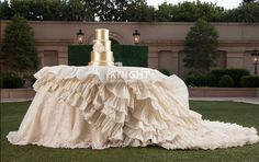 Couture Ivory Dupioni Ruffled cake table linen with Marchesa lace #couturelinens.
