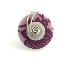 Wire Wrapped Button Ring Purple Floral by TrinketsNWhatnots