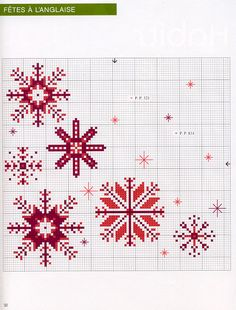 Cross-stitch Snowflakes... no color chart available, just use pattern chart as your color guide.. or choose your own colors... Gallery.ru / Фото #66 - 909 - Yra3raza