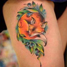Fox tattoo on leg new school by Anton Kovrigin Rose Tattoos, Flower Tattoos, Body Art Tattoos, New Tattoos, Butterfly Tattoos, Skull Tattoos, Tattoo Ink, Sleeve Tattoos, Fox Tattoo Design