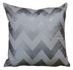 Mrs Darcy Zig Zag Silver and White Cushion