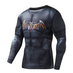 SuperHero Compression Long Sleeve T-Shirt Batman Quick Dry Form Fit Muscle shirt