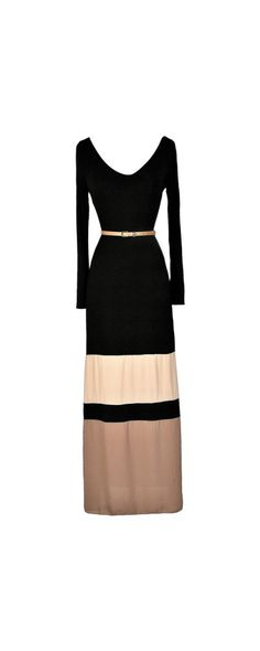 Boulevard Stroll Belted Black and Taupe Colorblock Maxi Dress  www.lilyboutique.com