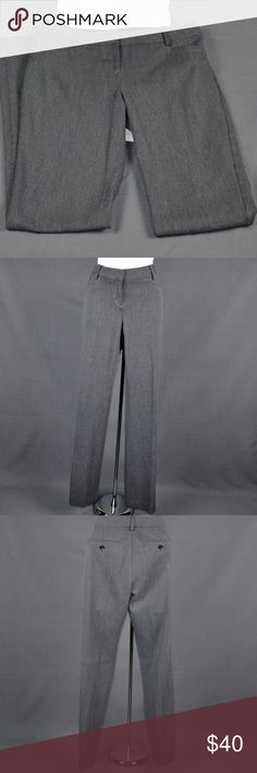 """Express Charcoal Grey Dress Pants Sz: 2 Express Pants are in very good condition. One of the buttons on the back pockets of these express design studio pants has been replaced as it broke. Replaced with a similar Express button. Hard to tell unless looking for it. 61% polyester, 34% viscose, 5% elastane. Size tag missing. I wear a 6 in express, 28 in COH JEANS, and these fit but are very tight on. Measured flat: waist: 15"""", inseam: 33"""", rise: 8.5"""", hips: 19"""", leg opening: 8.5"""". Smoke free…"""