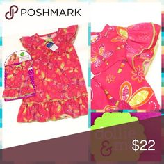 """Dollie & Me Dragonfly Nightgown & Doll Outfit 🐱Fuchsia With Purple & Orange Dragonflies  🐱Butterfly Sleeves with Pink Mesh Layer  🐱Lime Green Hem Line  🐱Swoop Neckline  🐱Polyester & Flame Resistant 🐱Matching 18"""" Doll Nightgown Dollie & Me Pajamas Nightgowns"""