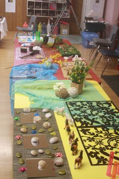 Practice setting up provocations with beautiful, open-ended materials. Look at all the wonderful textures, colors, and opportunities for language! Fantastic!