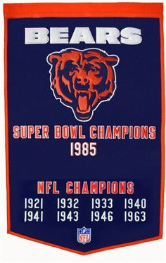 Chicago Bears Winning Streak Dynasty Banner - Large 38x24 banner that lists…