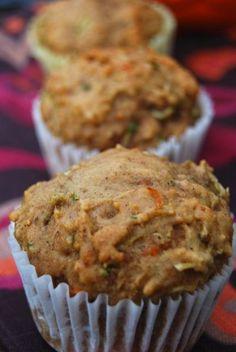 Zucchini Carrot Apple Muffins Recipe | Healthy Muffin Recipe (use flax egg for vegan)