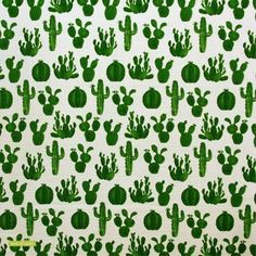 This fun cactus print features a watercolour style print of various different cactus types. This would make a fantastic lampshade or cushion cover with some gre Orla Kiely Fabric, Marimekko Fabric, Cactus Types, Cactus Print, Japanese Fabric, Green, Fun, Nursery Ideas, Watercolour