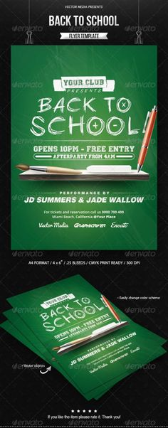 Buy Back to School - Flyer by VectorMedia on GraphicRiver. Back to School – Flyer Features: Fully layered PSD Organized and grouped layers for easy editing Format with . Flyer And Poster Design, Flyer Design, Birthday Flyer, Advertising Flyers, Party Flyer, Party Party, School Opening, Club Flyers, Happy Design