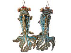 Chinese Vintage Japanese Oriental Enamel Cloisonne Wiggle Fish Pendant