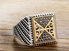 925 K Sterling Silver Man Ring  Black Onyx Gemstone 11,75 US Size #istanbuljewelry #Cluster