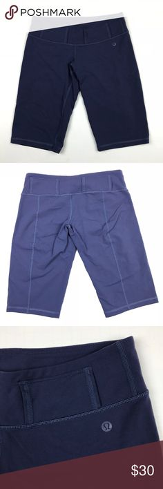 """Lululemon Globe Trot Pond Blue Bermuda Shorts Sz 4 Globe Trot Bermuda shorts from lululemon athletica in women's size 4 (no size dot or tag, please read measurements carefully). Pond blue color. Longer inseam to ensure coverage. Inner pocket in waistband. Belt loops but no belt included. Soft and stretchy material. 13"""" across front of waist when laying flat. 12"""" inseam. 17.5"""" outseam. Do everything from running errands to bicycling in these Lululemon Globe Trot bermuda shorts. lululemon…"""