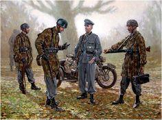 Fallschirmjager de las SS aprestandose a entrar en accion durante la 'Operacion Panzerfaust' tambien conocida como 'Unternehmen Eisenfaust', Bucarest, otoño de 1944, buscaba mantener el control de Hungria ante la desercion del Regente el almirante Miklós Horthy que estaba entablando conversaciones de rendicion con los sovieticos por lo que se envio al jefe de comandos teniente coronel-SS Otto Skorzeny (que ya habia rescatado a Mussolini el 12 de septiembre de 1943) para apartar al regente…