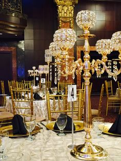 Gold centerpiece #torontoweddingrental