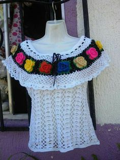 Blusa tabasqueña Crochet Bookmark Pattern, Crochet Vest Pattern, Crochet Shirt, Crochet Cardigan, Easy Crochet, Crochet Baby, Knit Crochet, Crochet Clothes, Diy Clothes