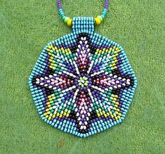 Items similar to Seed Beaded Mandala, Sacred Geometry Necklace, Mandala Necklace, Native American Art Jewelry. Light pink, blue and green. on Etsy Beading Projects, Beading Tutorials, Beading Patterns, Jewelry Art, Beaded Jewelry, Beaded Necklace, Flower Mandala, Sun Mandala, Native American Beading