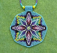 Seed Beaded Mandala, Sacred Geometry Necklace, Mandala Necklace, Native American Art Jewelry. Light pink, blue and green.