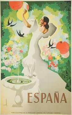 Vintage Poster Our final Spanish travel poster shows a young woman dancing in a garden. Painted for the Spanish Sate Tourist Department by artist Asturias Morell in Buy Spanish Garden Travel Poster Poster Art, Retro Poster, Kunst Poster, Poster Prints, Art Prints, Photo Vintage, Vintage Images, Vintage Art, Etsy Vintage