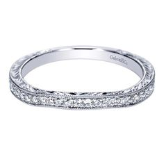 Gabriel 14 Karat Victorian Wedding Band WB9061W44JJ - Ladies - Wedding Rings | TQ Diamonds
