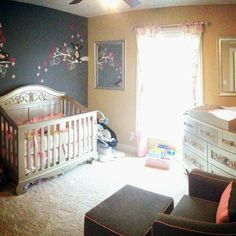 this nursery designed by mom Nikkie features our chelsea lifetime crib and dresser in antique silver