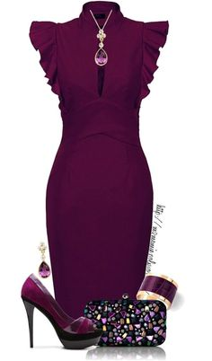 Pretty plum outfit - high heels, a blinged out bag, and a slim fit dress with gorgeous sleeve detail: