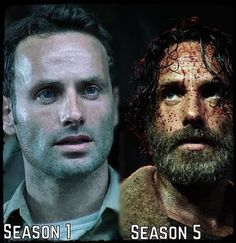 Season 1, season 5! I don't see a difference, do you see a difference? Oh I see it now, he's so f*#king hot the dirtier he gets lol! The Walking Dead. Rick Grimes