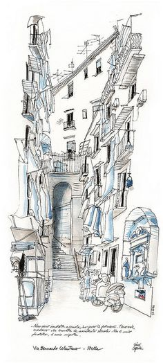 via Celentano, Napoli. Black ink in Lamy fountain pen and watercolor on Canson paper cm. Building Illustration, Illustration Sketches, Drawing Sketches, Illustrations, Sketch Painting, Watercolor Sketch, Urban Sketchers, Architecture Drawings, Art Sketchbook