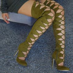 Lace Up Round Toe Thigh High Boots