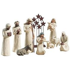 Willow Tree 10 Piece Starter Nativity Set By Susan Lordi with Go Green! Christmas Themes, Christmas Diy, Christmas Ornaments, Willow Tree Nativity, Wooden Wall Panels, Metal Stars, Collectible Figurines, Handmade Decorations, Home Decor Furniture