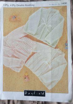 Baby Matinee Coats Hayfield 1400 knitting pattern 3, 4 ply & DK yarns #Hayfield