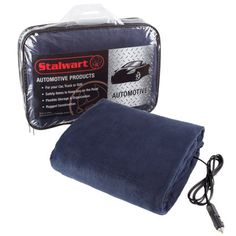 Electric Heater Car Blanket- Heated Travel Throw Electric Blanket for Car and RV, 12 volt by Stalwart, Blue