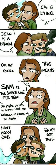 And once again, Sam screws up and gets people killed. At least Dean and Cas…