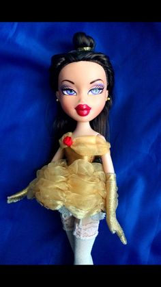 Handmade Belle from Beauty and the Beast mini version gown. (fits Bratz, Blythe, Monster High etc.) Gloves and petticoat included