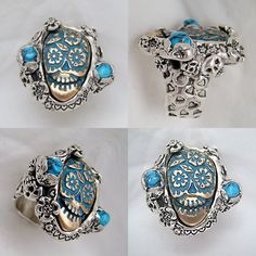 Turquoise Sugar Skull ring of bronze and solid by RXVrings on Etsy