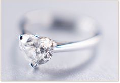 Heart-shaped Diamond Ring, this is exactly how I want my wedding ring, solitaire, white gold or platinum band, half a karat or less, heart shaped diamond... Simple and sweet, how love should be ❤