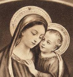 Vintage 1934 Prayer Card Virgin & Child by ChristmasAngels on Etsy, $10.00
