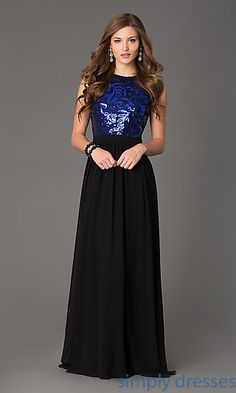 Sleeveless Open Back Floor Length Gown at SimplyDresses.com