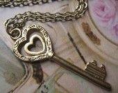 Heart Key necklace.  Valentine's Day gift idea.